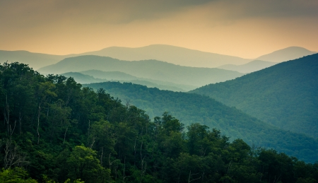 The Blue Ridge Mountains, seen from Skyline Drive in Shenandoah National Park, Virginia.