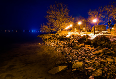 The Chesapeake Bay waterfront in Havre de Grace, Maryland at night. photo