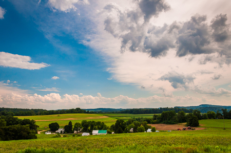 View of farmland and rolling hills in rural York County, Pennsylvania. photo