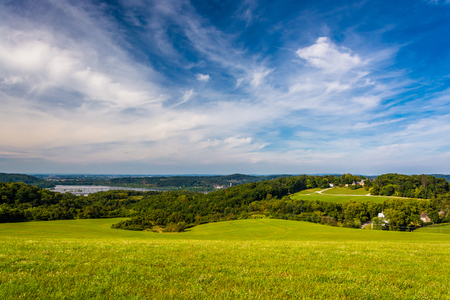 river county: View of rolling hills and the Susquehanna River from High Point in Eastern York County, Pennsylvania. Stock Photo