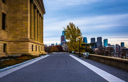 The Museum of Art and skyline in Philadelphia, Pennsylvania.
