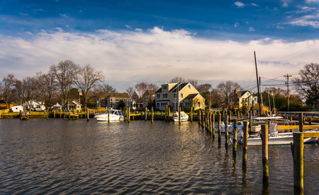 pilings: Boats in the harbor of Oxford, Maryland.