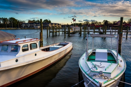 Boats in the harbor of St. Michael's, Maryland. photo