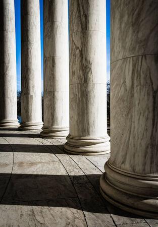 Columns at the Thomas Jefferson Memorial, Washington, DC.