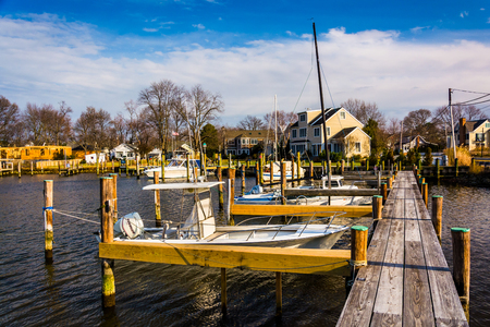 Docks in the harbor at Oxford, Maryland.