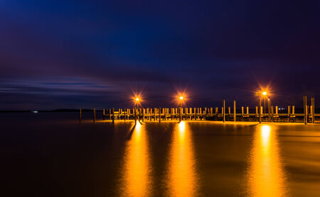 Pier on the Chesapeake Bay at night, in Havre de Grace, Maryland. photo
