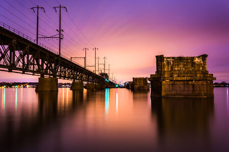 Railroad bridge over the Susquehanna River at night, in Havre de Grace, Maryland. photo