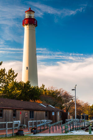 The Cape May Point Lighthouse, in Cape May, New Jersey. 免版税图像