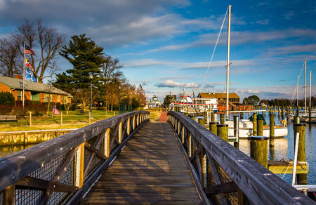 Walking bridge in the harbor of St. Michaels, Maryland. photo