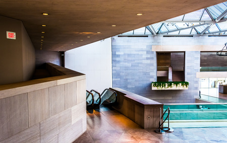 Modern architecture in the East Building of the National\ Gallery of Art, Washington, DC.\