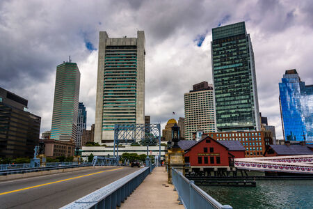 Bridge and the skyline in Boston, Massachusetts.
