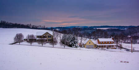 covered fields: Snow covered fields and rolling hills in rural Carroll County, Maryland.