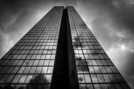 john hancock: Storm clouds over the John Hancock Building, in Boston, Massachusetts. Editorial