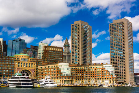 The Boston skyline, seen from across Fort Point Channel