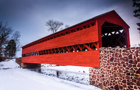 Sachs Covered Bridge during the winter, near Gettysburg, Pennsylvania.