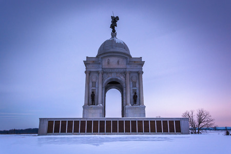 The Pennsylvania Monument during the winter, in Gettysburg, Pennsylvania. Stock Photo