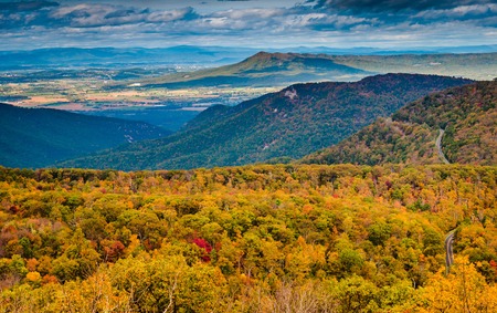 Autumn view of the Blue Ridge Mountains and Shenandoah Valley from Loft Mountain, Shenandoah National Park, Virginia. photo