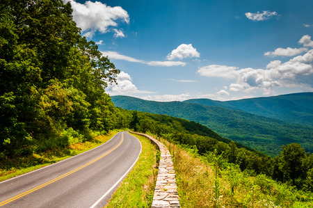 blue ridge: Skyline Drive and view of the Blue Ridge Mountains, in Shenandoah National Park, Virginia.