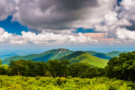 appalachian trail: View of Old Rag Mountain from Thoroughfare Overlook in Shenandoah National Park, Virginia.