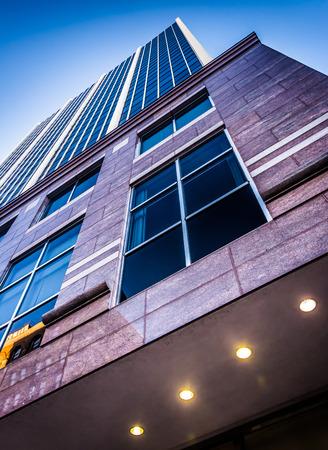 postmodern: Looking up a modern building in downtown Wilmington, Delaware.