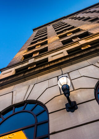 Looking up at the Hotel DuPont in downtown Wilmington, Delaware. Stock Photo