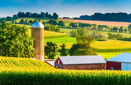 Barn and silo on a farm in rural York County, Pennsylvania. photo