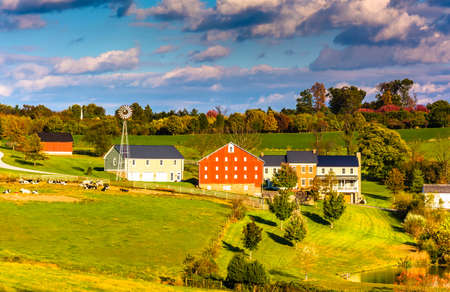 View of barn and houses on a farm in rural York County, Pennsylvania. photo