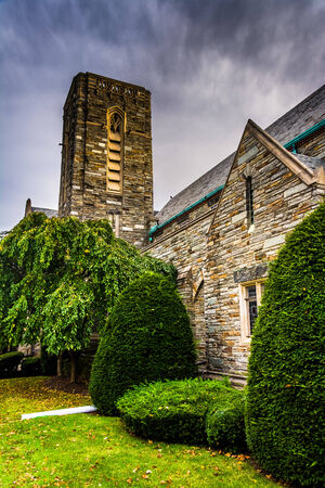 Bushes and an old church in Hanover, Pennsylvania. photo