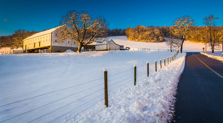 Farm along a country road during the winter, in rural York County, Pennsylvania.