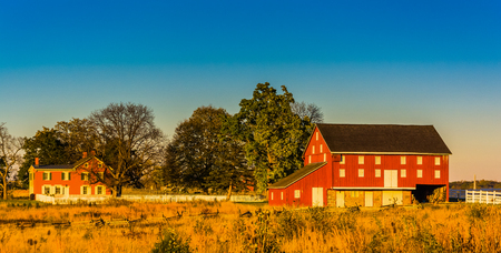 Red barn and house in Gettysburg, Pennsylvania. Editorial