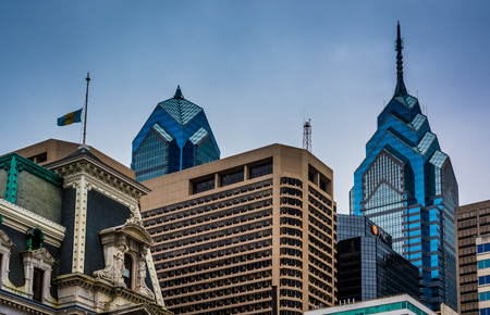 Skyscrapers in downtown Philadelphia, Pennsylvania.