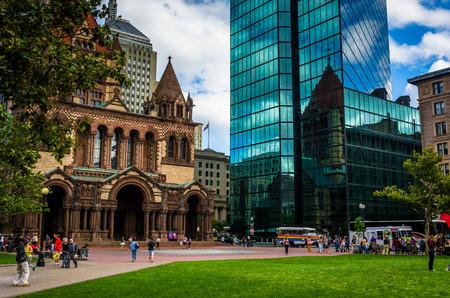 boston: The John Hancock Building and Trinity Church at Copley Square in Boston, Massachusetts. Editorial