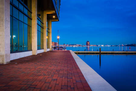 fells: Waterfront building at twilight in Fells Point, Baltimore, Maryland.