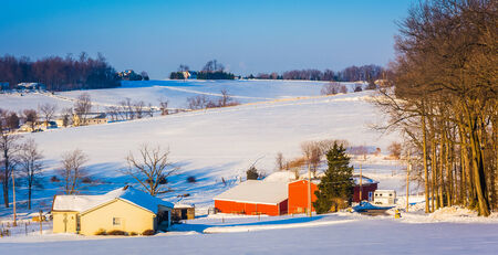 Winter view of farm fields and rolling hills in rural York County, Pennsylvania. photo
