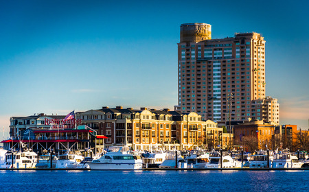 Apartment Building And Marina At The Inner Harbor In Baltimore,.. Stock  Photo, Picture And Royalty Free Image. Image 26434053.