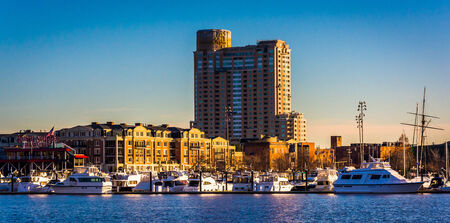 Apartment building and marina at the Inner Harbor in Baltimore, Maryland.