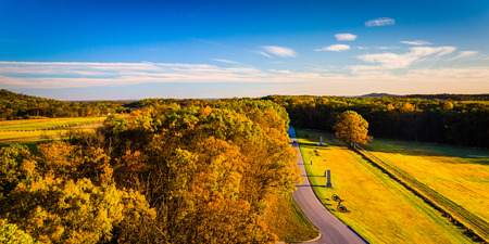 Autumn view of battlefields from Longstreet Observation Tower in Gettysburg, Pennsylvania. Stock Photo