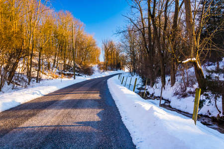 winter road: Country road, seen during the winter, in York County, Pennsylvania.