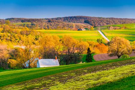 'S avonds licht op de velden en heuvels in de landelijke York County, Pennsylvania.