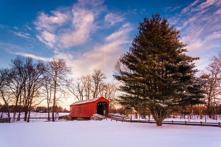 amish: Loys Station Covered Bridge, in Frederick County, Maryland.