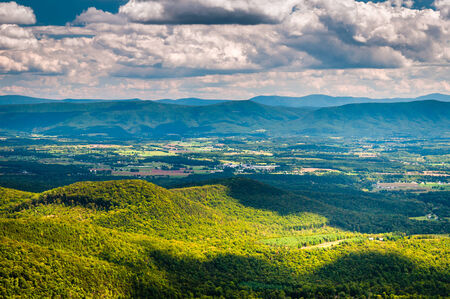 west virginia trees: View of the Shenandoah Valley and Appalachian Mountains from the Mill Mountain Trail on Great North Mountain in George Washington National Forest, Virginia.