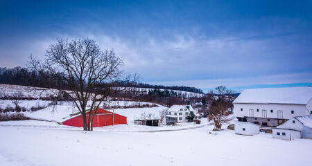 Winter view of barns and a tree on a farm in rural York County, Pennsylvania. Editoriali
