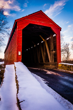 frederick street: Winter view of Loys Station Covered Bridge in rural Frederick County, Maryland.