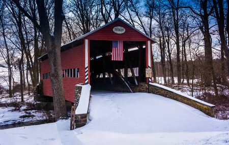 adams: Winter view of the Heikes Covered Bridge in rural Adams County, Pennsylvania.
