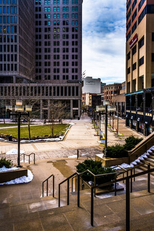 Stairs and buildings at Charles Center in downtown Baltimore, Maryland.
