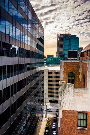 View of buildings from a parking garage in downtown Baltimore, Maryland.