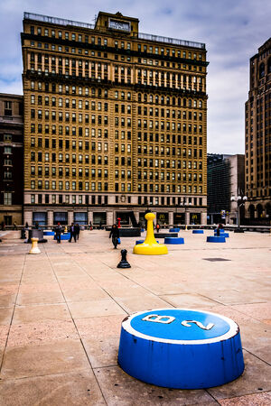 the center of the city: Instalaci�n art�stica y One City Plaza en Center City, Filadelfia, Pensilvania. Editorial