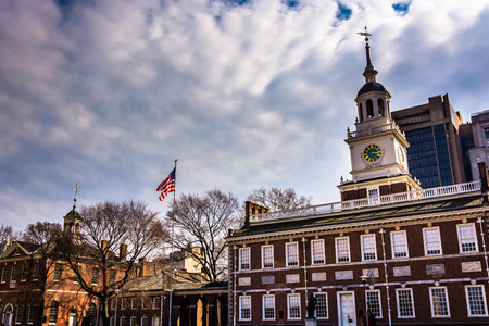 flagpoles: Independence Hall, in Philadelphia, Pennsylvania.