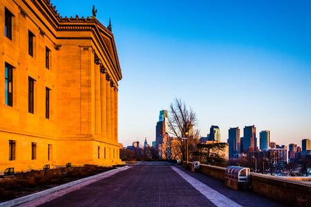 art museum: Il Museo d'Arte e orizzonte al tramonto, a Philadelphia, Pennsylvania.