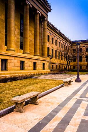art museum: Bench and exterior of the Art Museum in Philadelphia, Pennsylvania.